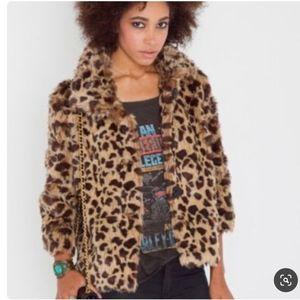 Ark & Co Leopard Cheetah faux fur jacket